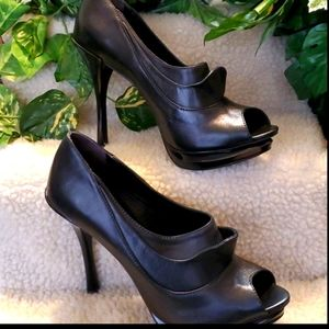 Schutz Black Leather Bootie